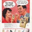 "1958 Raleigh Cigarettes Ad ""great New Filter Tip"""