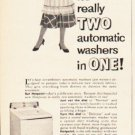 """1953 Hotpoint Ad """"two automatic washers in one"""""""