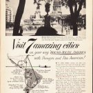 "1953 Panagra Airways Ad ""7 amazing cities"""