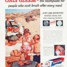 """1957 Gleem Toothpaste Ad """"Only Gleem"""""""