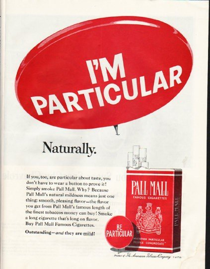 """1965 Pall Mall Cigarettes Ad """"I'm Particular"""""""