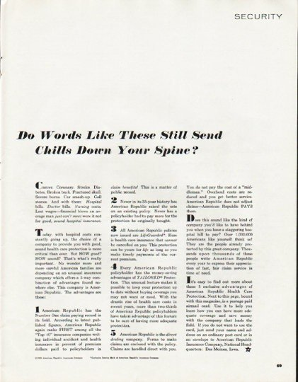 """1965 American Republic Insurance Ad """"Words Like These"""""""