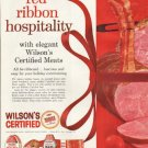 "1961 Wilson's Certified Meats Ad ""red ribbon hospitality"""