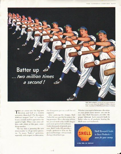 "1956 Shell Oil Company Ad ""Batter up"""
