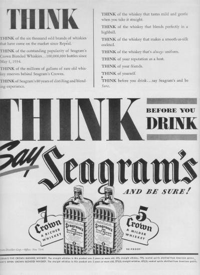 """1937 Seagram's Ad """"Think Before You Drink"""""""