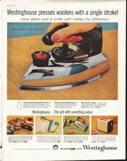 "1958 Westinghouse Ad ""presses woolens"""