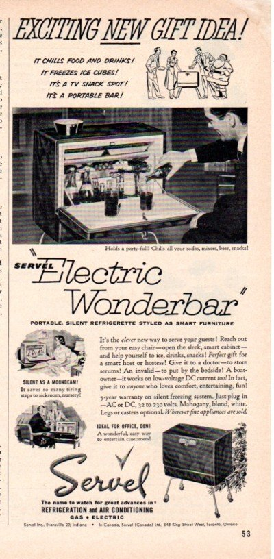 "1953 Servel Ad ""Electric Wonderbar"""