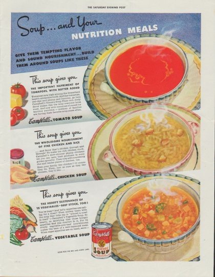 "1942 Campbell's Soup Ad ""Nutrition Meals"""