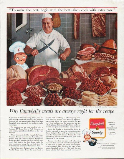 """1963 Campbell's Soup Ad """"Campbell's meats are always right"""""""