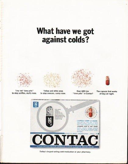"1965 Contac Cold Medicine Ad ""against colds"""