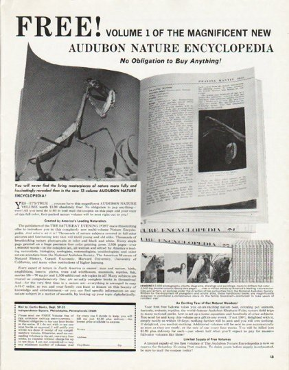 "1965 Audubon Nature Encyclopedia Ad ""Volume 1"""