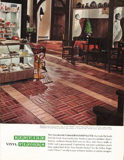 "1965 Kentile Floors Ad ""Colonial Brick"""