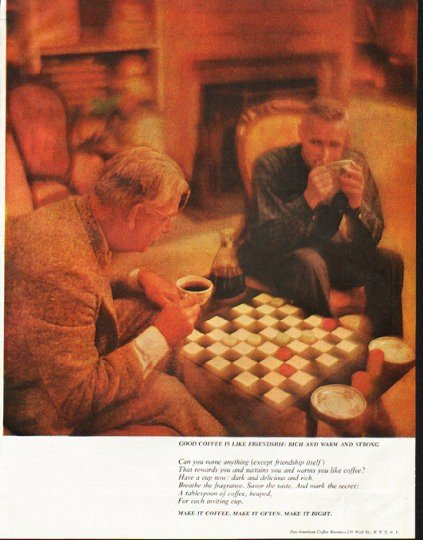 "1961 Pan-American Coffee Bureau Ad ""rich and warm"""