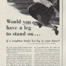 "1952 The Hartford Insurance Ad ""leg to stand on"""
