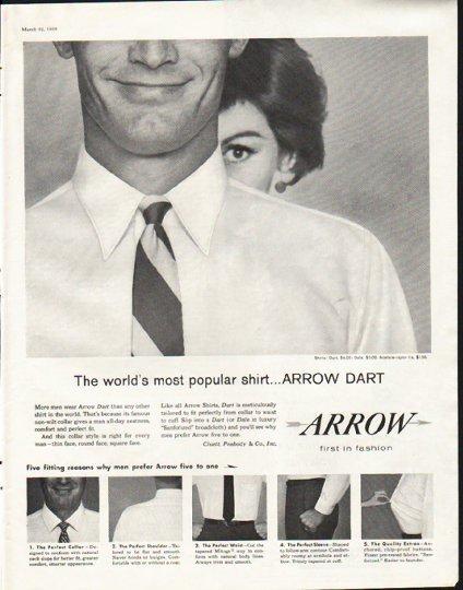 "1958 Arrow Shirt Ad ""most popular shirt"""