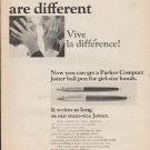 "1965 Parker Pens Ad ""Girl-size hands"""