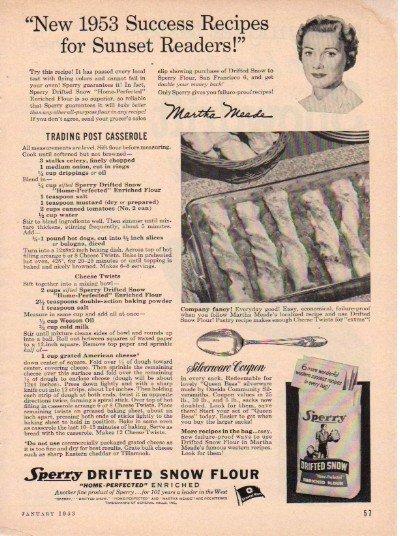 """1953 Sperry Flour Ad """"Success Recipes"""""""