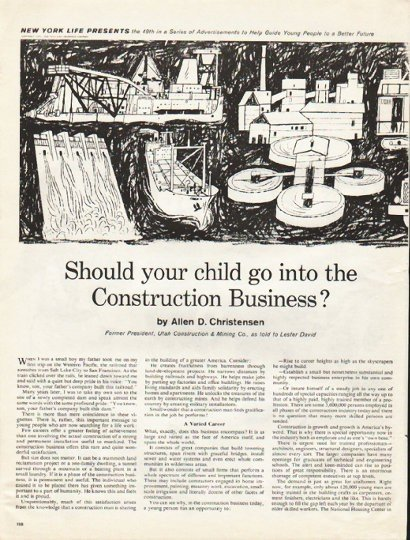 """1961 New York Life Insurance Ad """"your child"""""""