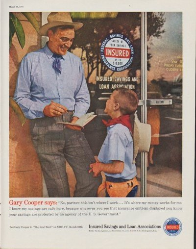 """1961 Insured Savings and Loan Association Ad """"Gary Cooper says"""""""