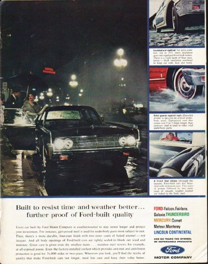 """1963 Ford Ad """"resist time"""" ~ (model year 1963)"""