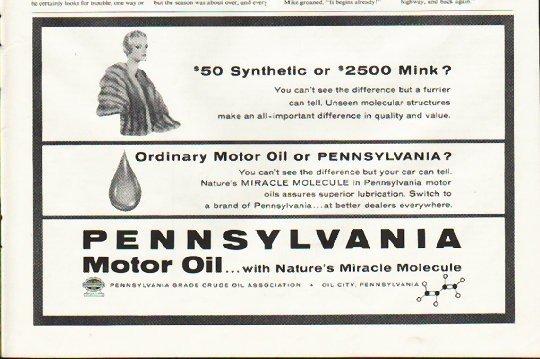 "1961 Pennsylvania Motor Oil Ad ""Synthetic"""