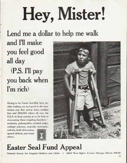 """1965 Easter Seal Fund Ad """"Hey, Mister"""""""