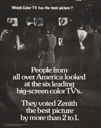 "1972 Zenith Television Ad ""Which Color TV"""