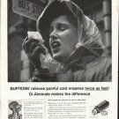 """1958 Bufferin Ad """"painful cold miseries"""""""
