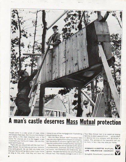 "1965 Massachusetts Mutual Life Insurance Ad ""man's castle"""