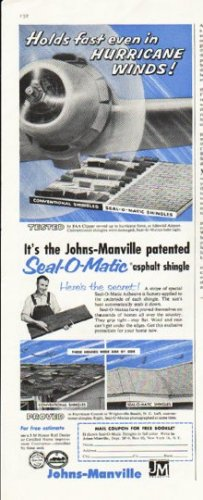 """1956 Johns-Manville Ad """"Holds fast"""""""