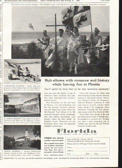 """1958 Florida Travel Ad """"Rub elbows"""""""