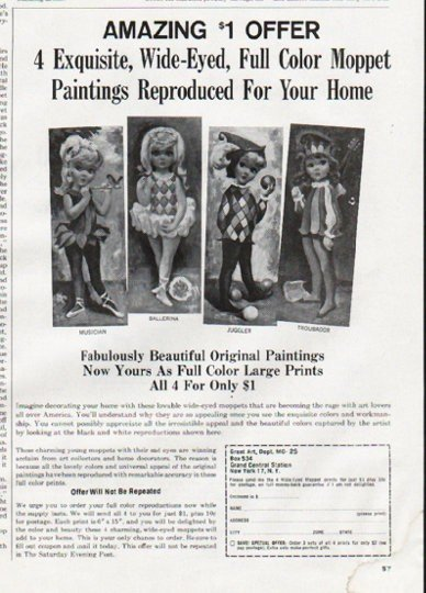 """1965 Moppet Paintings Ad """"Amazing $1 Offer"""""""