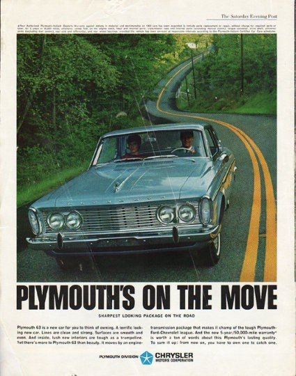 """1963 Plymouth Ad """"on the move"""" ~ (model year 1963)"""