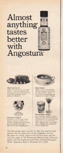 "1965 Angostura Ad ""Almost anything tastes better"""