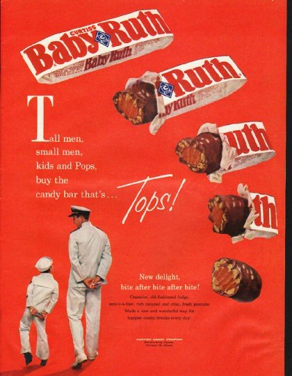 "1961 Baby Ruth Candy Bar Ad ""Tall men"""