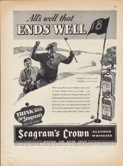 """1937 Seagram's Crown Whiskey Ad """"All's Well"""""""