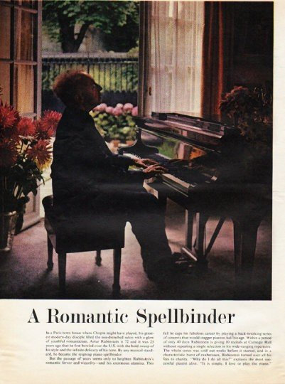 "1961 Artur Rubinstein Article ""Romantic Spellbinder"""