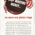 """1956 Hastings Piston Rings Ad """"Stop wasting money"""""""
