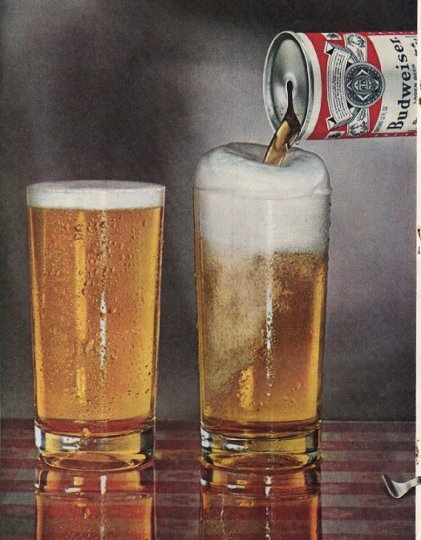 "1965 Budweiser Beer Ad ""Which looks better"""