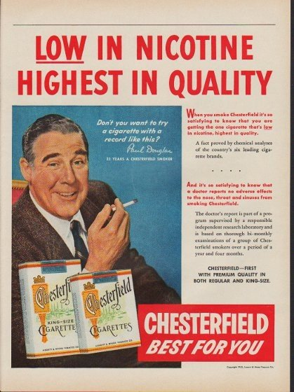 """1953 Chesterfield Cigarettes Ad """"Low In Nicotine"""""""