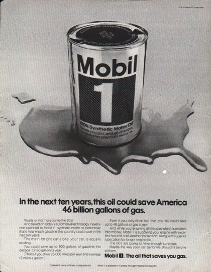 """1980 Mobil Oil Ad """"next ten years"""""""