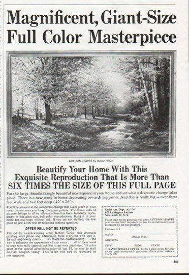"""1965 Great Art Ad """"Full Color Masterpiece"""""""
