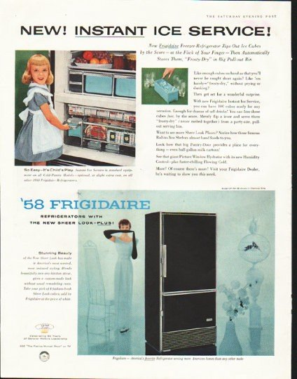 "1958 Frigidaire Ad ""Instant Ice Service"""