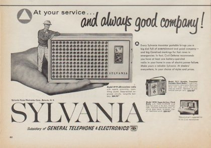 "1961 Sylvania Radio Ad ""At your service"""