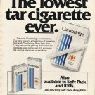 "1980 Cambridge Cigarettes Ad ""lowest tar cigarette"""