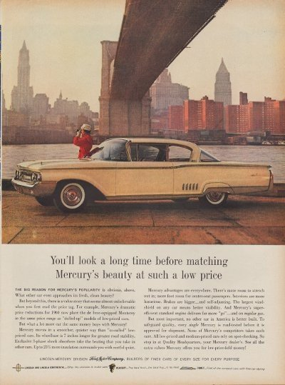 """1960 Ford Mercury Ad """"You'll Look A Long Time"""""""