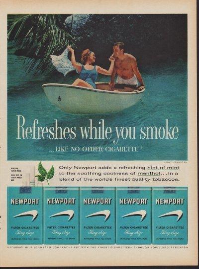 """1960 Newport Cigarettes Ad """"Hint of Mint"""""""