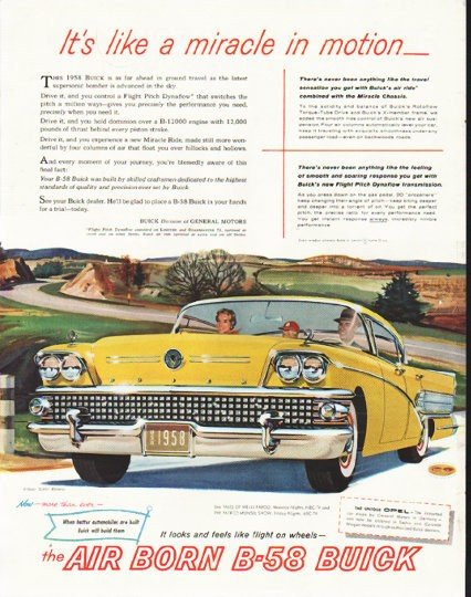 """1958 Buick Ad """"like a miracle"""" ~ (model year 1958)"""
