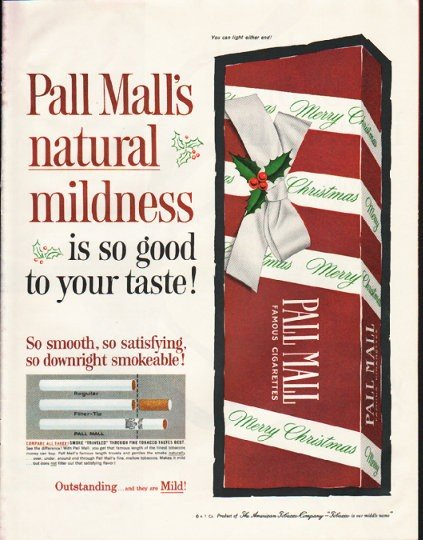 """1961 Pall Mall Cigarettes Ad """"natural mildness"""""""