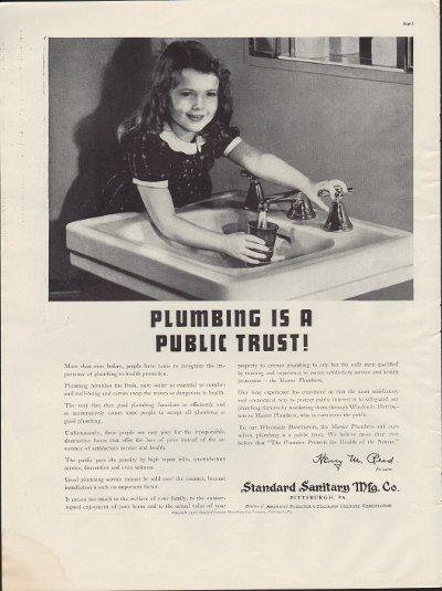 "1938 Standard Sanitary Mfg. Co. Ad ""Trust"""
